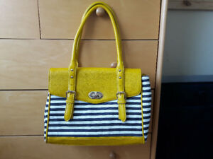 Ladies Aldo Summer Yellow Canvas Striped Tote Bag