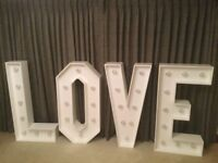 Available For Hire - Giant 4ft LOVE Letters, Light Up VW Camper Photo Booth & Candy Cart