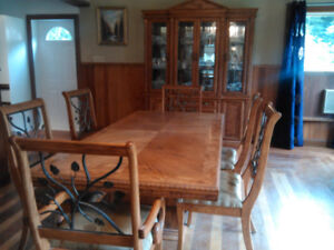 Bird's Eye Maple Dining Room Table, Six Chairs and Buffet
