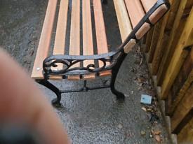 Mahogany cast iron bench