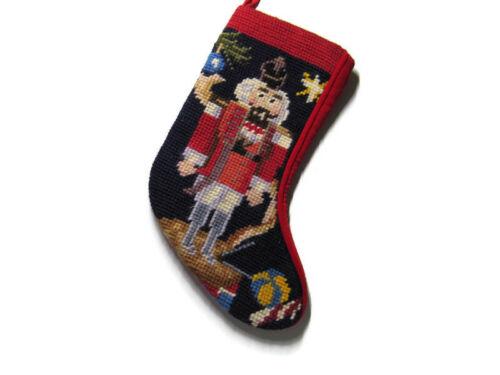 """VTG Small Needlepoint Christmas Stocking Nutcracker 9"""" Red Lined Velvet Backed"""