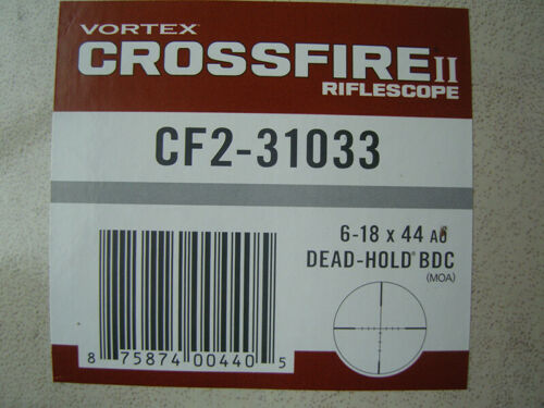 Vortex Optics CF2-31033 Crossfire II 6-18x44mm Rifle Scope - Black Only Open