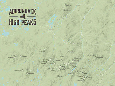 Adirondack High Peaks Map 18x24 Poster (Sage) #466 Adirondack High Peaks Map