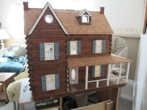 Stunning all wood, lighted doll house/ dollhouse