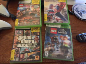 Xbox 360 with three controllers an games