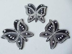 3 x LARGE Sequinned Applique Embellishments: BUTTERFLY (sew-on/iron-on)