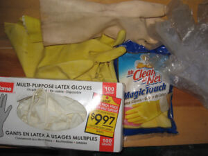 Industrial chemicals, grease and rubber gloves