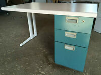 Heavy Duty Desk with Laminate top and steel pedestal.