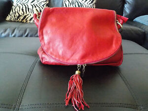 Tuscan Red Leather Hand Bag For Sale