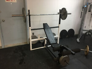 Bench Press with attachments, Olympic bar and 390lbs weights