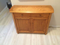 Small Oak Sideboard/Console with Matching Mirror