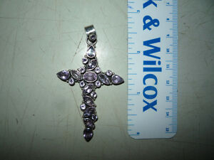 amethyst cross pendant - silver Cambridge Kitchener Area image 1