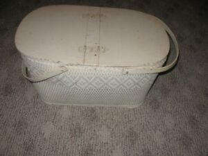 Vintage Wooden Wicker Woven Picnic Basket White w/Hinged Lid OBO