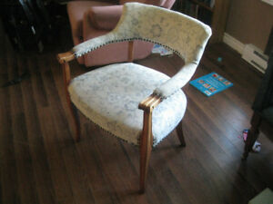 Antique vintage sitting chair blue flower pattern
