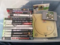 Wii, Xbox 360, ps3 and n64 games. And sega dreamcast.