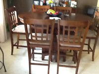 bar style table and chairs plus desk