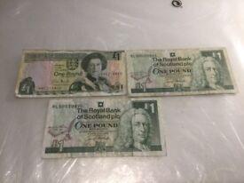 Old U.K. British One Pound Banknotes