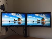 2 X monitors + table mount stand