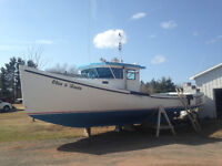 40' fibreglass lobster fishing boat for sale