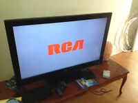 """40""""HDTV, DVD player, Kenwood receiver and stereo stand"""