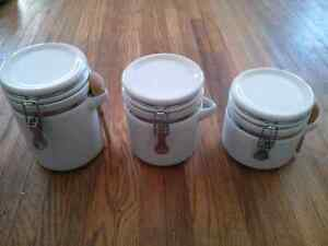 3 Kitchen Canisters (white ceramic)