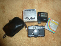 Vintage Rollei 35 LED film camera with flash and filter