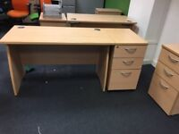 10 x superb quality 120 x 60 cm straight desks with side draw @ just £75 a set Only!!