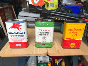 MOBILOIL /  SHELL / D-X OUTBOARD OIL CANS 1 U.S. QUART EACH