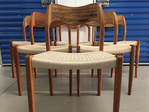 6 ROSEWOOD NIELS MOLLER #71 DINING CHAIRS - Mid Century/Teak