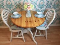 Shabby Chic solid pine dining table with two solid chairs