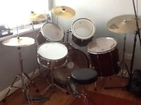 PEARL export series full drum kit in red wine colour