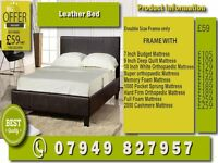 New SINGLE , DOUBLE , SMALL DOUBLE , KINGSIZE LEATHER Bed WITH Matrs