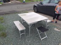 Folding camping picnic bench chairs and table