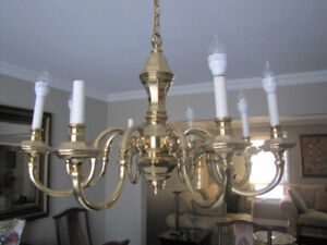 Large Vintage 8 Branch Chandelier and 2 Wall Sconces