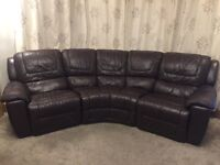 DFS CURVED BROWN LEATHER RECLINER SOFA
