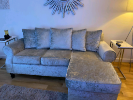 Silver Crushed velvet sofa with chaise.
