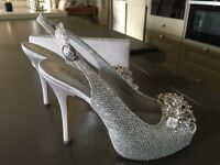 Silver shoes and matching bag