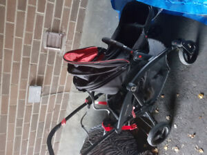 Contours red and black double stroller