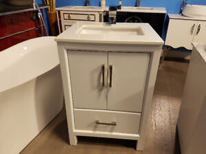 """24"""" White Solid Wood Vanity with White Quartz Top - Hot Deal!"""