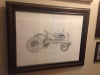 Hand drawing of allis charmers wd 40 classic tractor