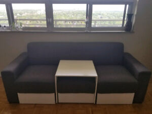 Modern Grey Convertible L-Shaped Couch w Ottomans