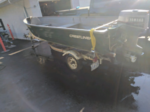 14ft Crestliner Boat w/ 30 hp Electric start Yamaha and trailer
