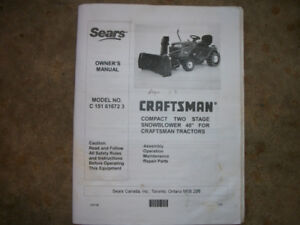 """Craftsman two stage 40"""" Tractor mount Snow blower"""