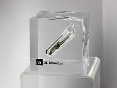 Strontium Metal - Acrylic Element Cube 50x50x50mm Element Block - Museum Grade