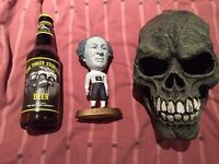 Three Stooges, Skulls, candle holders etc