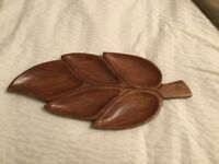 Vintage Retro Wood Leaf Snack Serving Tray