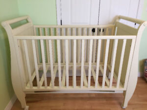 Solid wood crib, dresser and shelf