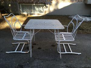 Meubles Table et 2 Chaises Patio Jardin Vintage Fer Forgé