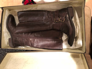 Women's dark brown leather high boots, size 7,5