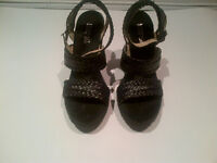 BRAND NEW AUTHENTIC WICKERED BLACK MICHAEL KORS WEDGE SHOES